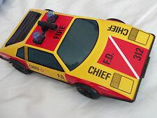 """VINTAGE 9"""" TIN LOTUS ESPRIT alimentata a Frizione Fire Chief CAR-RARE"""