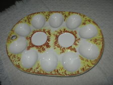 """Vintage Ceramic Deviled 10 Egg Plate Embossed w Yellow Brown Straw 9""""x6.5"""" Oval"""