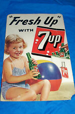 1952 Fresh Up with 7Up Sign Soda Pop 7 Old Vintage Ad Advertising Store 1950's