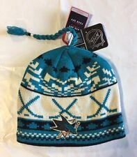 San Jose Sharks Knit Beanie Toque Winter Hat Skull Cap NEW Hockey Sticks Tassle