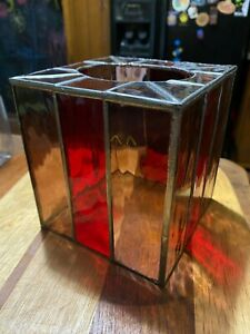 Stained glass tissue box box Yellow Red Mission Style Art EUC handmade leaded