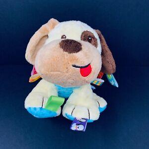 "Taggies Puppy Dog Buddy Plush Tan Baby Lovey Rattle Tag N Play Pals 10"" Stuffed"
