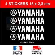 4 Stickers YAMAHA Blanc Autocollants Moto Adhésifs Bécane Scooter 15x2,8 cm