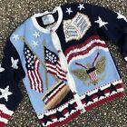 Vintage Patriotic American Flag USA Ugly Christmas Sweater Teddy Bear L XL