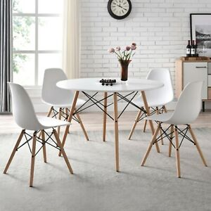 """Mainstays 42"""" Round Modern Dining Table Mid Century Style, Beech and White Color"""