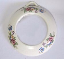 "Lovely Ceramic Round Off White Mirror Flowers 10"" Signed Barbara Jean"