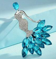 Crystal brooch mermaid lady blue birthday christmas wedding bridesmaid 413