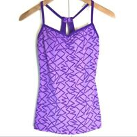 Lucy Activewear Y Back Purple Racer Geometric Tank Top Activewear Womens XS