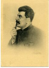 1939 Stalin Smoking Pipe  Russian S Rare Russian  postcard