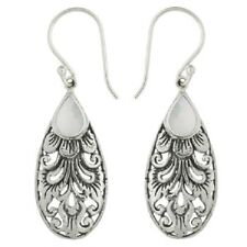Handmade earrings Antiqued 925 silver with Dangling Mother of Pearl 45mm drop