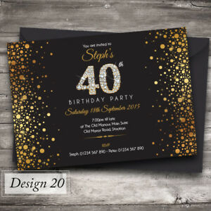 Personalised Birthday Invitations   any age, 18th, 21st, 40th, 50th - Design 20