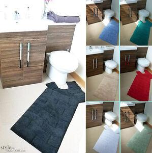 Luxury Cotton Chenille Washable 2 Piece Bath Mat & Pedestal Mat Set / Bath Rug