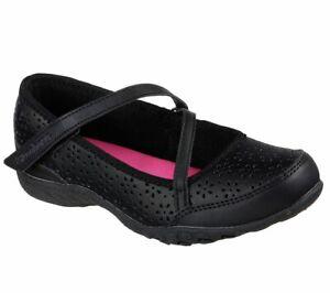Skechers School Shoes Black Relaxed Fit Strap Memory Foam Comfort Girls Flats