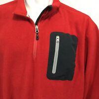 Orvis Red 1/4 Zip Pullover Sweatshirt Fleece Sz XXL Pocket Sweater Jacket L/S