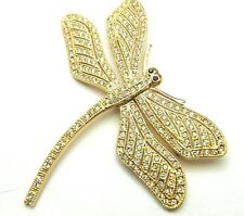 Crystal Brooch Mechanical Butterfly Moves Vintage Dragonfly Pin Bug Rhinestone