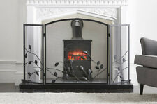 "Vintage Deco® Black ""Autumnal Woodland"" Three Fold Fire Guard with Leaf Detail"