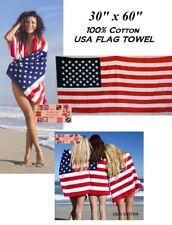 "US USA AMERICAN America Flag Banner Big 30x60""COTTON BATH POOL BEACH TOWEL WRAP"