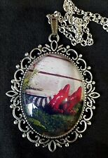 Wizard Oz House Ruby Slippers Large Antique Silver Pendant Necklace Judy Garland
