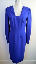 RM BY ROLAND MOURET blue wool crepe long sleeve dress size 10 WORN ONCE