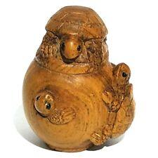 "Y5383 - 20 Years Old 2"" Hand Carved Ironwood Netsuke : Turtles"