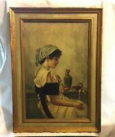 Original Oil on Canvas Painting, Signed T. Marco, Italian, 19th Century Fine Art