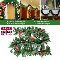 Christmas Rattan Garland Fireplace Fence Door Outdoor Wreath Xmas Decor W/ Light