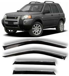 Chrome Trim Side Window Visors Guard Deflectors For Land Rover Freelander 98-06