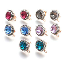 Posts Light Gold Loop Ring 17mm 20pcs Colorful Brass Pave Cubic Zirconia Earring