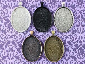 Oval Pendant Trays - 30x40mm - Silver Bronze Copper Black Mix - 10 20 25 50 100
