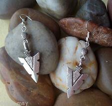 Vintage Silver Arrowhead and Bead Dangly S/P Earrings - Ethnic Native Boho