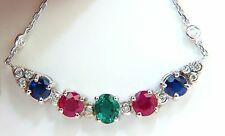 3.60CT NATURAL RUBY EMERALD SAPPHIRE DIAMONDS NECKLACE F/VS ARCH & BY YARD+