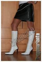 Buffalo Stiefel Kniestiefel Lederstiefel weiß spitz gerafft High Heels