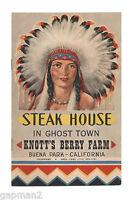 Knott's Berry Farm 1964 Steak House In Ghost Town Brochure Menu Dwight Anderson