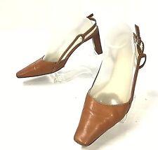 LAUREN RALPH LAUREN Women's Slingback Heels Pumps Sz 8 B (M) Brown Shoes (sh112)