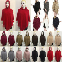 Women Knitted Batwing Tops Poncho Hoodie Cape Cardigan Warm Coat Sweater Outwear