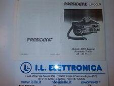 MANUALE IN ITALIANO fotocopia  istruzioni d'uso per PRESIDENT LINCOLN