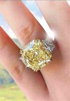 Gorgeous 925 Silver Princess Cut Huge Citrine Women Ring Wedding Jewelry Sz 6-10