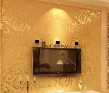 High-End 10M Luxury Embossed Pattern Textured Wallpaper Rolls Gold