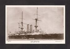REAL-PHOTO POSTCARD:  BRITISH ROYAL NAVY Pre-WW-1 BATTLESHIP:  HMS RESOLUTION