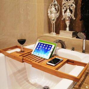 Extendable Luxury Bamboo Wood Bath Caddy Bridge Tray Wine Phone  Soap Holder