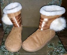 Justice Tan Light Brown Ivory Faux Shearling Pom Pom Boots Ribbon 6 or 4 Girls