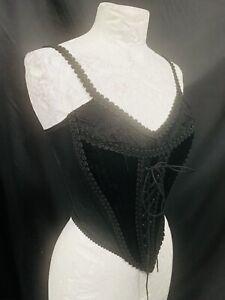 Rare Vintage Raven Corset Black Top Size 8/10 Uk