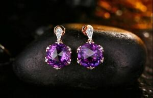 6Ct Round Attractive Cut Amethyst Drop & Dangle Earrings 18K Rose Gold Finish