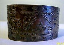 Primitive Silver Aboriginal Cuff with Hieroglyphics Depicting Native Life; 31Gms