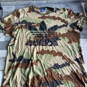 Adidas Army Camo T Shirt - Big Logo - Size Large UK