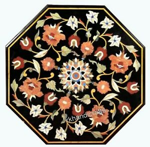 16 Inches Marble Bed End Table Top with Multi Stones Marquetry Art Coffee Table