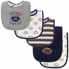 Hudson Baby Boy Bib and Burp Cloth Set 5-Piece, Football