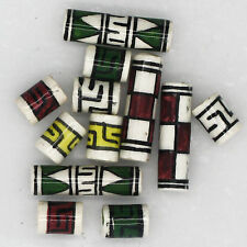 Peruvian Bead Mix Hand Painted Glazed Petite Tube Mix 6 pairs (12 beads)