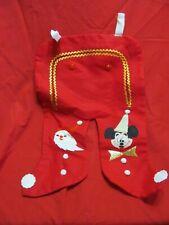 Vintage Felt Christmas Pants Stocking Santa & Mickey Mouse by Disney
