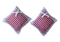 Dolls House Lace Trimmed Red Gingham Cushions Miniature 1:12 Scale Accessory